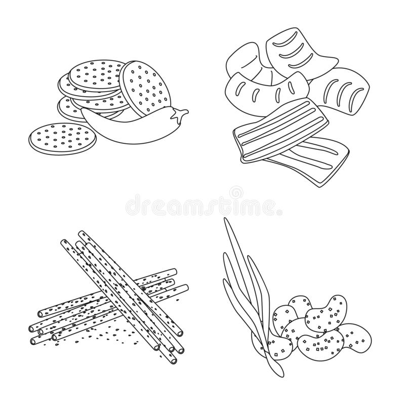 Isolated object of taste and crunchy icon. Set of taste and cooking stock vector illustration. Vector design of taste and crunchy symbol. Collection of taste royalty free illustration