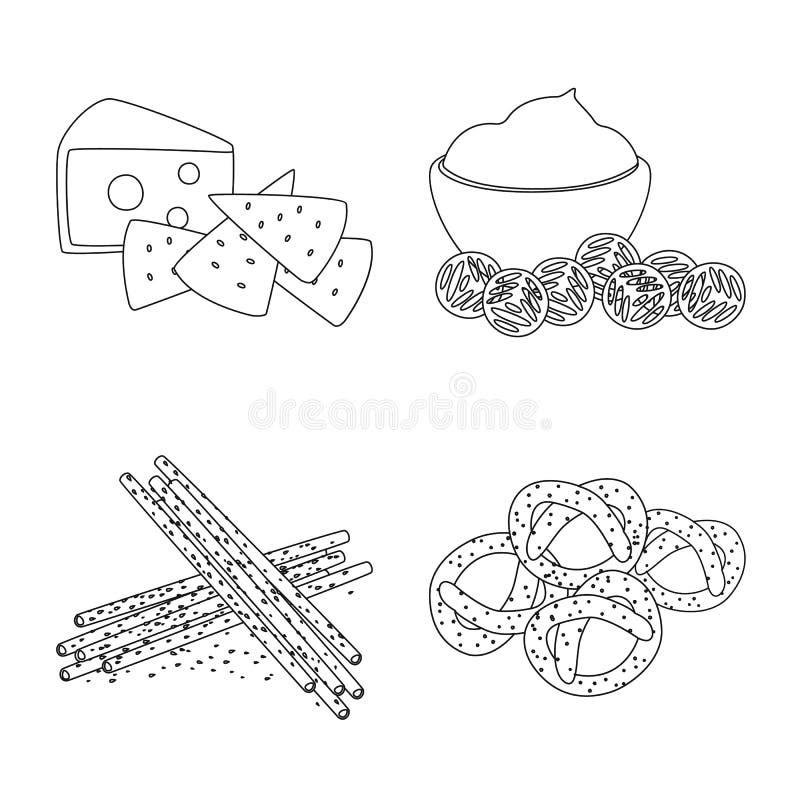 Vector illustration of taste and crunchy sign. Collection of taste and cooking stock vector illustration. Isolated object of taste and crunchy logo. Set of vector illustration