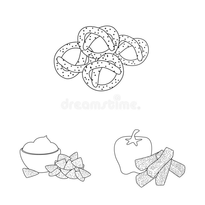 Vector illustration of taste and crunchy symbol. Set of taste and cooking vector icon for stock. Isolated object of taste and crunchy sign. Collection of taste royalty free illustration