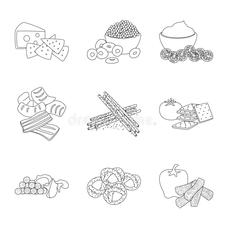 Vector illustration of taste and crunchy icon. Set of taste and cooking vector icon for stock. Isolated object of taste and crunchy symbol. Collection of taste stock illustration