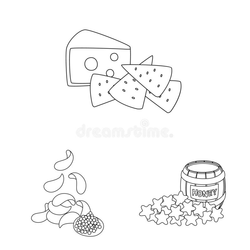 Isolated object of taste and crunchy symbol. Collection of taste and cooking stock vector illustration. Vector design of taste and crunchy sign. Set of taste stock illustration