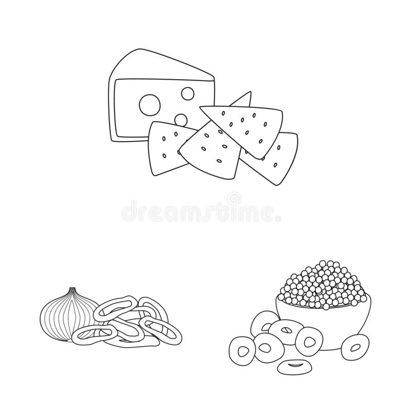 Isolated object of taste and crunchy symbol. Collection of taste and cooking vector icon for stock. Vector design of taste and crunchy sign. Set of taste and vector illustration