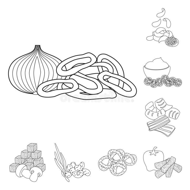 Isolated object of taste and crunchy symbol. Set of taste and cooking stock vector illustration. Vector design of taste and crunchy sign. Collection of taste vector illustration
