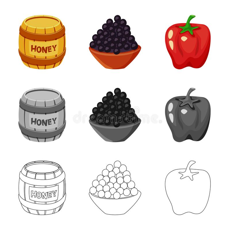 Vector illustration of taste and product logo. Set of taste and cooking vector icon for stock. Isolated object of taste and product icon. Collection of taste royalty free illustration