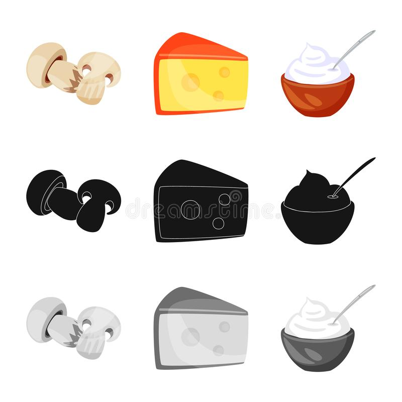 Isolated object of taste and product icon. Set of taste and cooking vector icon for stock. Vector design of taste and product symbol. Collection of taste and royalty free illustration