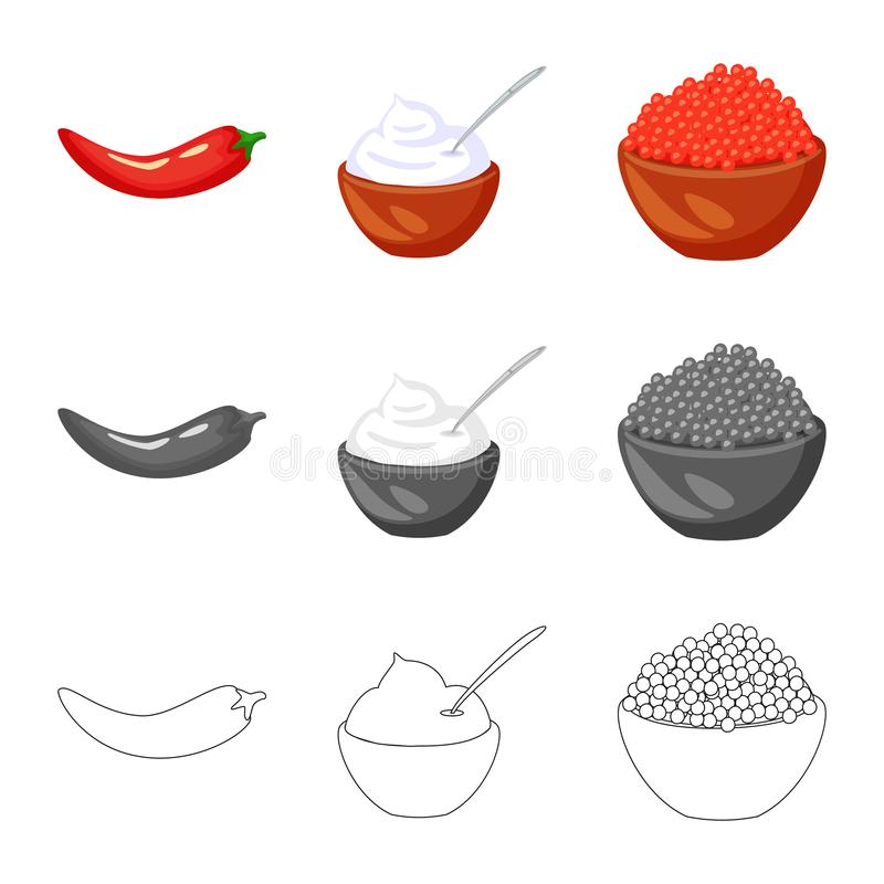 Isolated object of taste and product icon. Set of taste and cooking stock vector illustration. Vector design of taste and product symbol. Collection of taste royalty free illustration