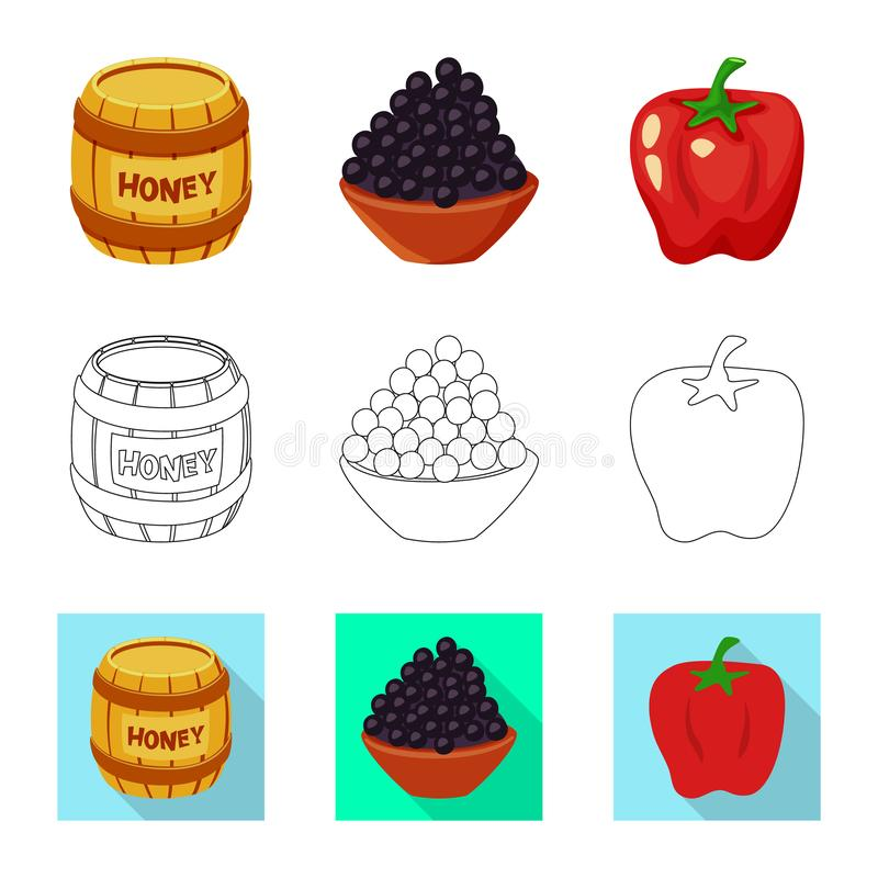 Isolated object of taste and product logo. Collection of taste and cooking stock symbol for web. Vector design of taste and product icon. Set of taste and stock illustration