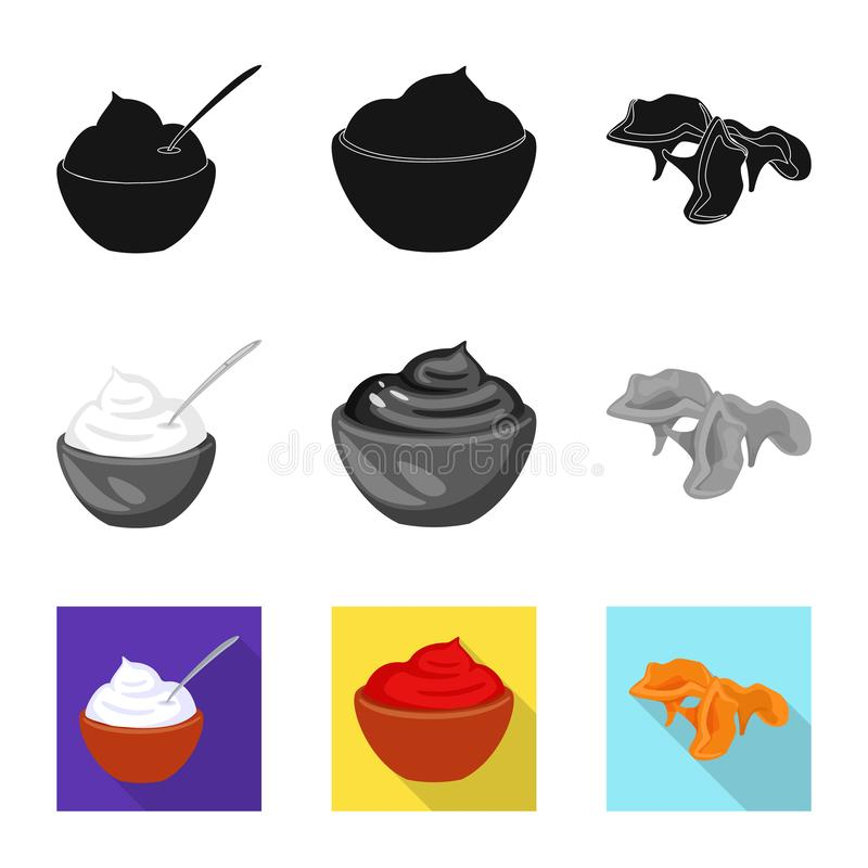 Vector illustration of taste and product sign. Set of taste and cooking stock symbol for web. Isolated object of taste and product logo. Collection of taste and stock illustration