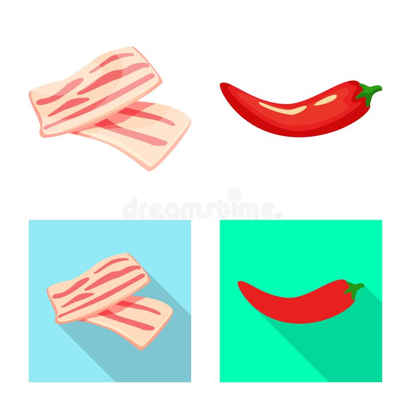 Vector illustration of taste and product sign. Set of taste and cooking stock symbol for web. Isolated object of taste and product logo. Collection of taste and vector illustration