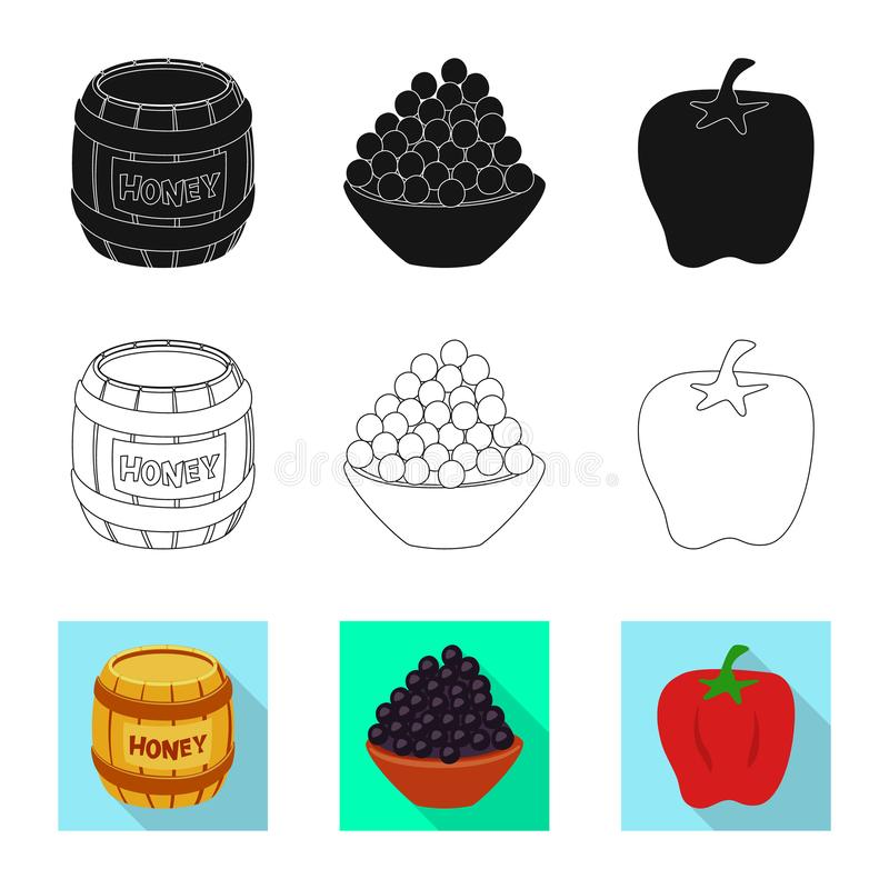 Vector illustration of taste and product symbol. Set of taste and cooking vector icon for stock. Isolated object of taste and product sign. Collection of taste stock illustration