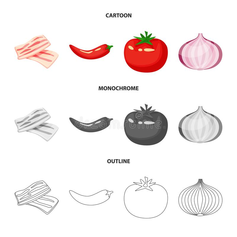 Vector illustration of taste and product icon. Set of taste and cooking vector icon for stock. Isolated object of taste and product symbol. Collection of taste vector illustration