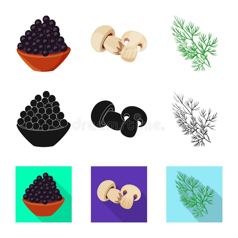 Vector illustration of taste and product icon. Set of taste and cooking stock symbol for web. Isolated object of taste and product symbol. Collection of taste stock illustration