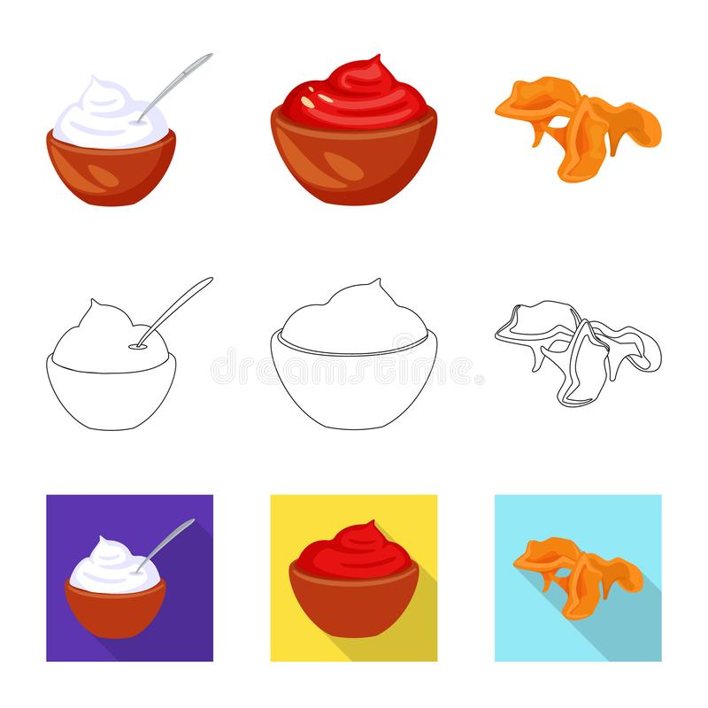 Vector illustration of taste and product icon. Collection of taste and cooking stock vector illustration. Isolated object of taste and product symbol. Set of royalty free illustration