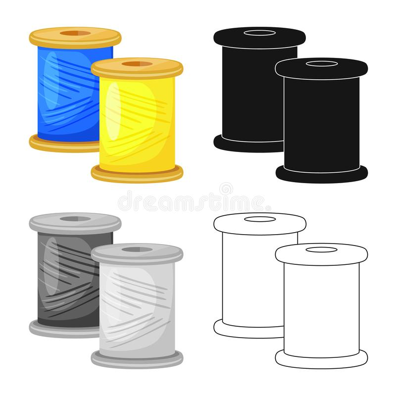 Vector illustration of thread and spool logo. Set of thread and reel vector icon for stock. Isolated object of thread and spool icon. Collection of thread and royalty free illustration