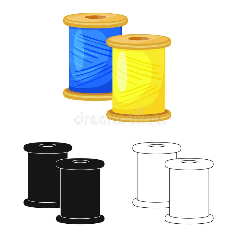 Vector illustration of thread and spool logo. Collection of thread and reel stock symbol for web. Isolated object of thread and spool icon. Set of thread and vector illustration
