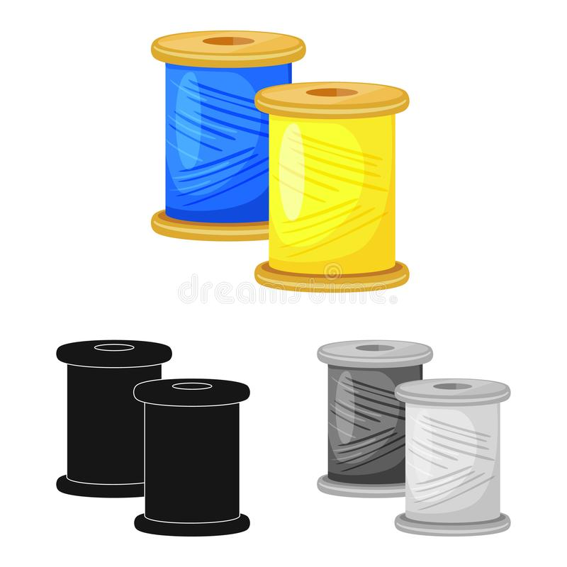 Isolated object of thread and spool logo. Collection of thread and reel vector icon for stock. Vector design of thread and spool icon. Set of thread and reel royalty free illustration