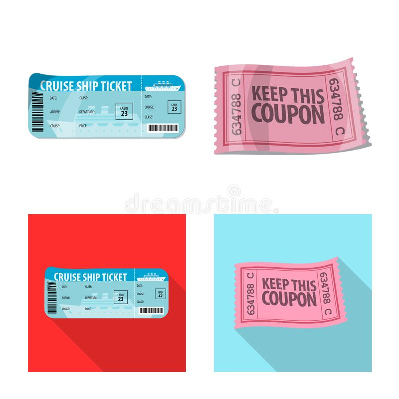 Isolated object of ticket and admission sign. Collection of ticket and event stock symbol for web. stock illustration
