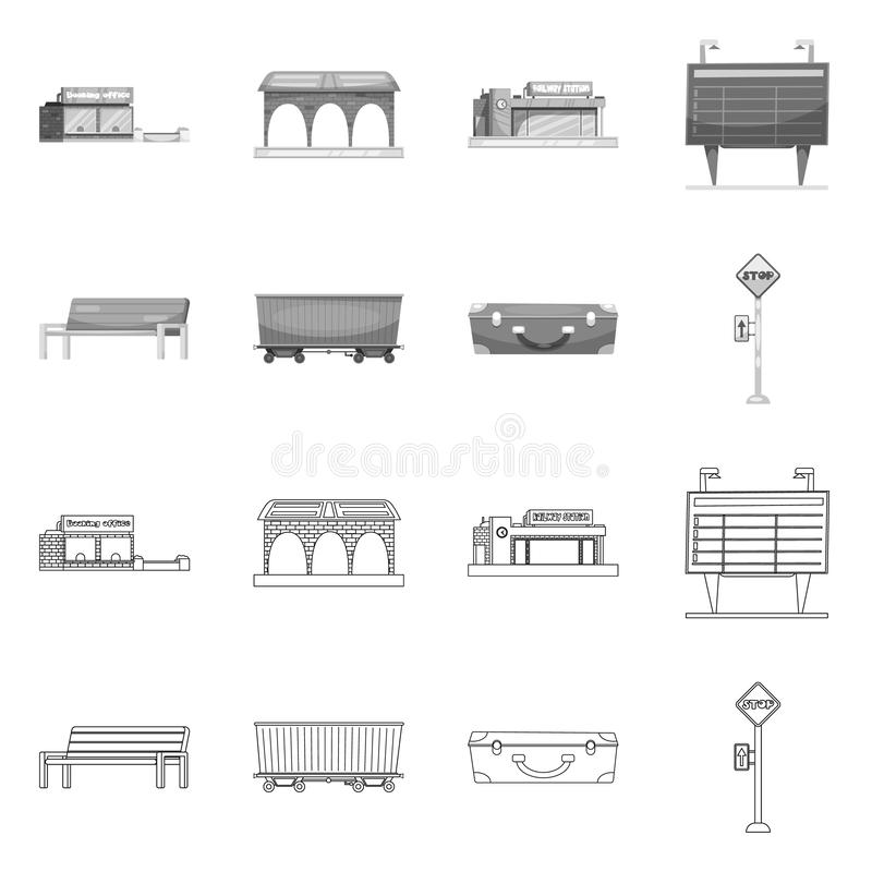 Vector illustration of train and station logo. Collection of train and ticket stock symbol for web. royalty free illustration