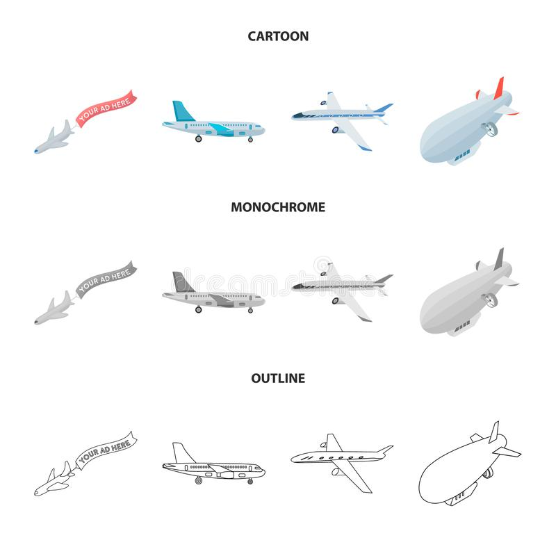 Isolated object of transport and object icon. Set of transport and gliding stock symbol for web. stock illustration