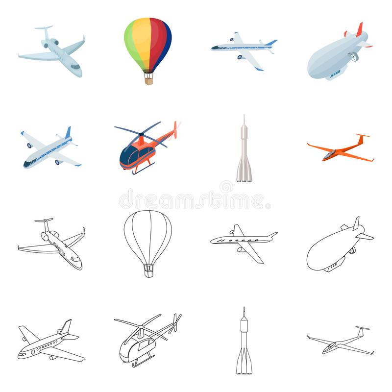 Isolated object of transport and object logo. Collection of transport and gliding stock symbol for web. royalty free illustration