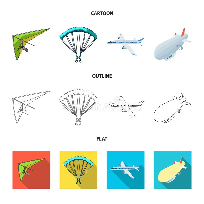 Isolated object of transport and object logo. Set of transport and gliding stock vector illustration. royalty free illustration