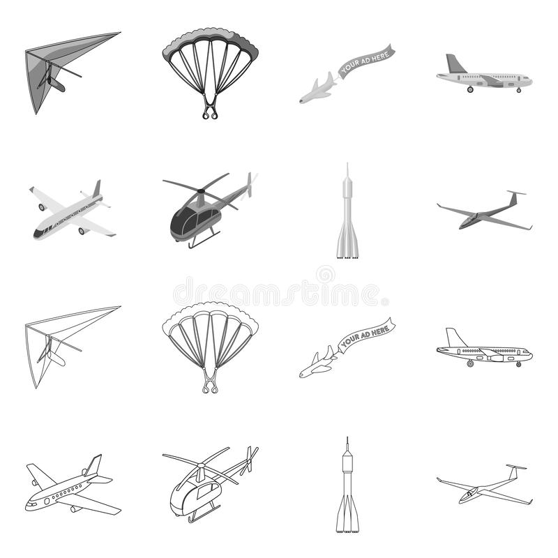 Vector illustration of transport and object logo. Collection of transport and gliding vector icon for stock. royalty free illustration