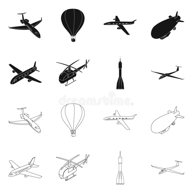 Isolated object of transport and object icon. Set of transport and gliding stock vector illustration. royalty free illustration