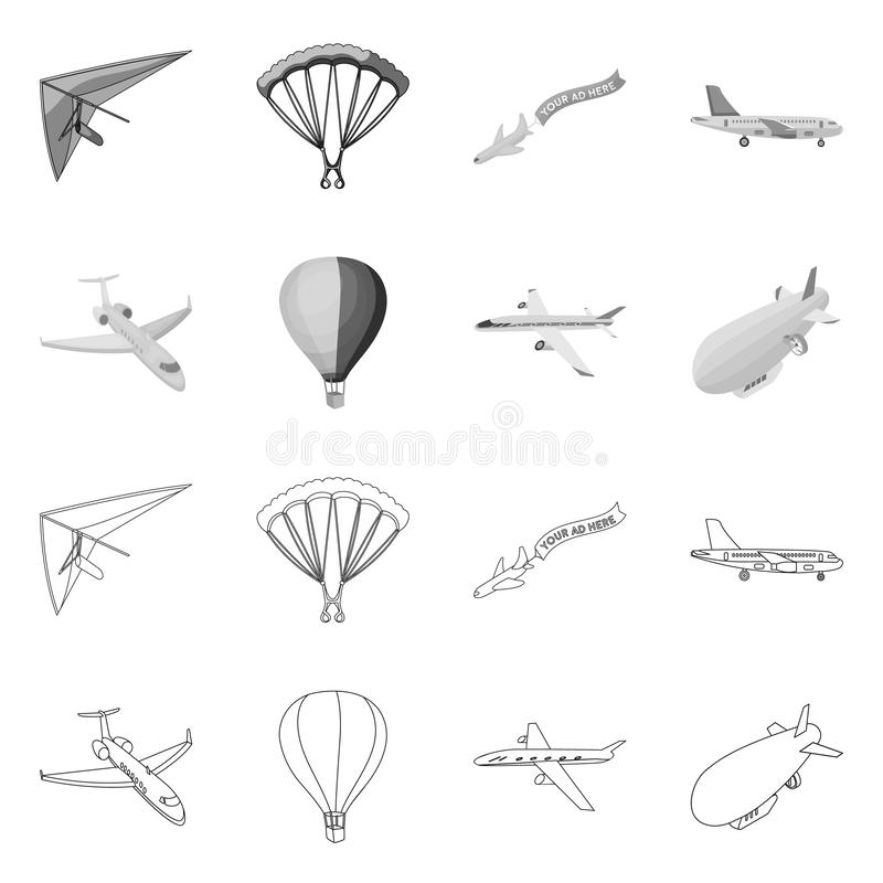 Isolated object of transport and object logo. Set of transport and gliding vector icon for stock. royalty free illustration