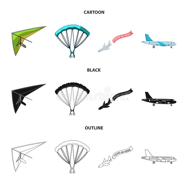 Vector illustration of transport and object symbol. Collection of transport and gliding stock vector illustration. vector illustration