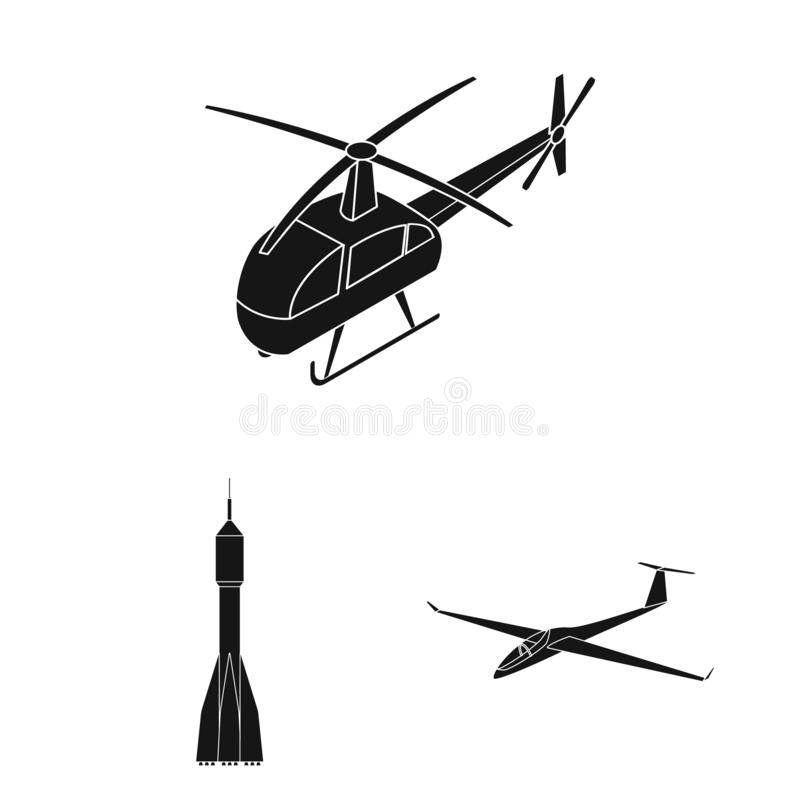 Vector illustration of transport and object icon. Set of transport and gliding stock symbol for web. stock illustration