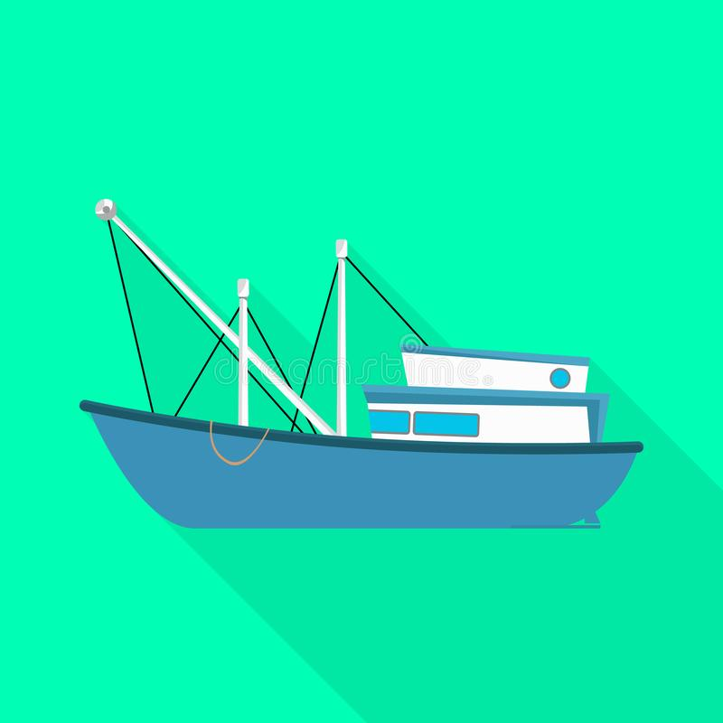 Isolated object of trawler and fishery icon. Set of trawler and ocean stock vector illustration. Vector design of trawler and fishery symbol. Collection of royalty free illustration