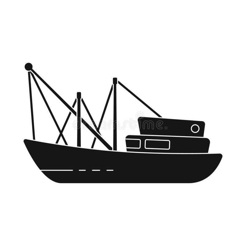 Vector illustration of trawler and fishery logo. Collection of trawler and ocean stock symbol for web. Isolated object of trawler and fishery icon. Set of vector illustration