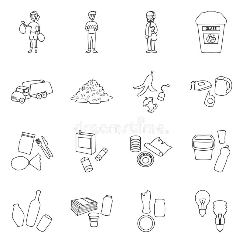 Isolated object of waste and garbage sign. Set of waste and separation stock vector illustration. Vector design of waste and garbage logo. Collection of waste vector illustration