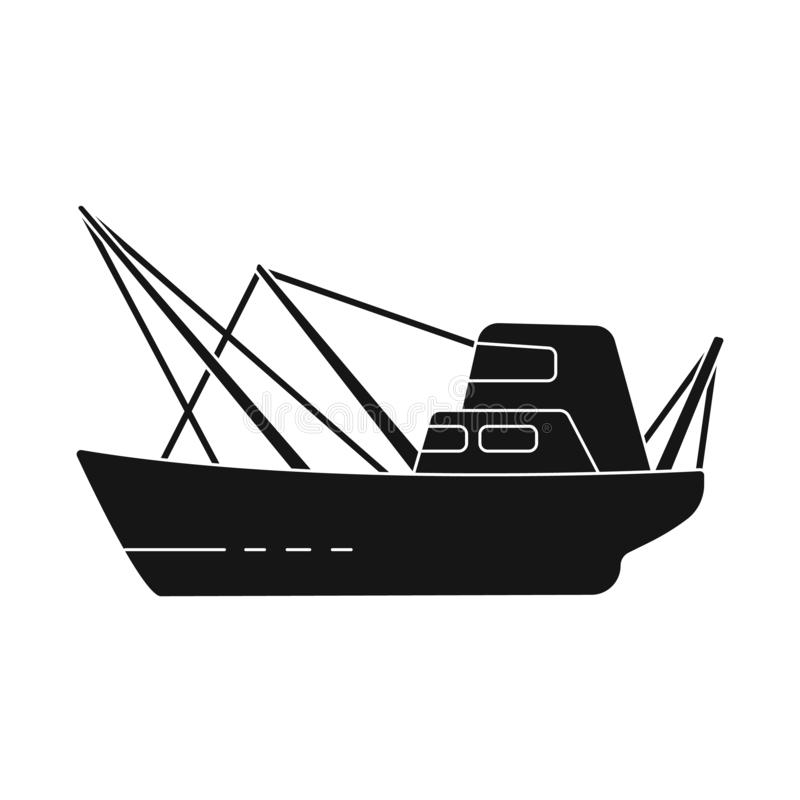Vector illustration of water and transport symbol. Collection of water and trawler stock vector illustration. Isolated object of water and transport sign. Set stock illustration