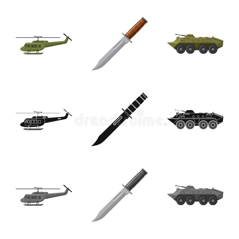 Isolated object of weapon and gun icon. Set of weapon and army stock symbol for web. Vector design of weapon and gun symbol. Collection of weapon and army stock stock illustration