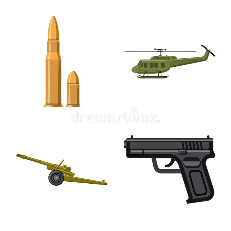 Vector illustration of weapon and gun logo. Collection of weapon and army stock symbol for web. Isolated object of weapon and gun icon. Set of weapon and army stock illustration