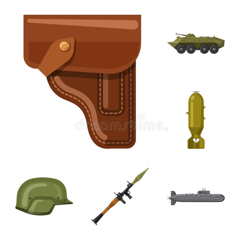 Isolated object of weapon and gun logo. Collection of weapon and army vector icon for stock. Vector design of weapon and gun icon. Set of weapon and army stock vector illustration