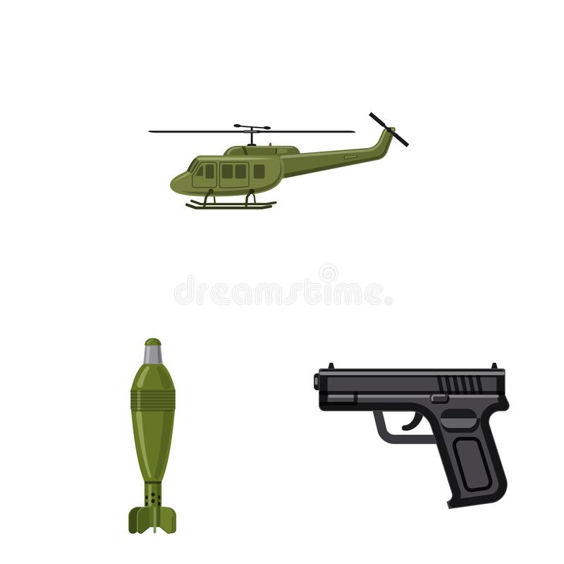 Vector illustration of weapon and gun icon. Set of weapon and army vector icon for stock. Isolated object of weapon and gun symbol. Collection of weapon and stock illustration