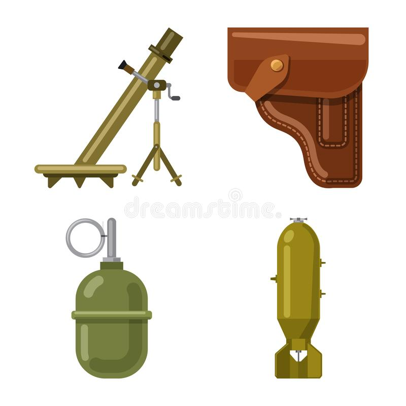 Isolated object of weapon and gun symbol. Set of weapon and army stock symbol for web. Vector design of weapon and gun sign. Collection of weapon and army stock royalty free illustration