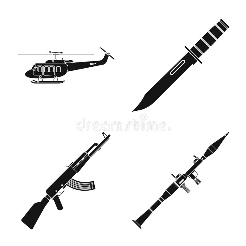 Isolated object of weapon and gun symbol. Set of weapon and army stock vector illustration. Vector design of weapon and gun sign. Collection of weapon and army vector illustration