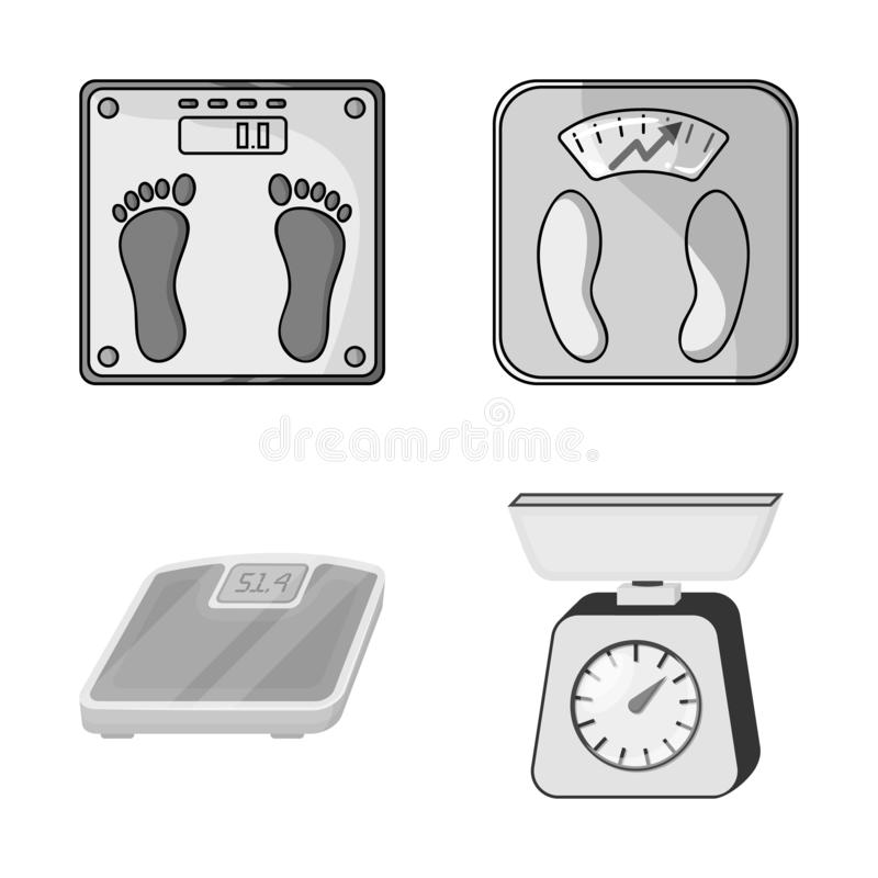 Vector illustration of weight and lab sign. Collection of weight and kitchen stock vector illustration. Isolated object of weight and lab logo. Set of weight vector illustration