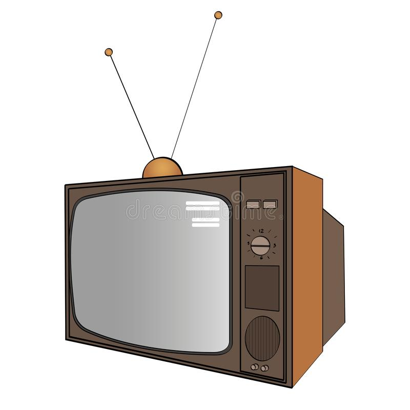 Isolated object on white background. Electronic equipment, old TV. Imitation of comics style. Vector vector illustration