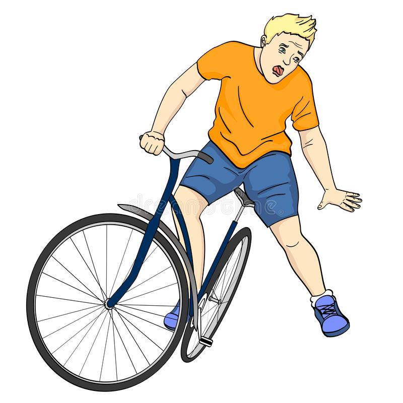 Isolated object on white background. The man is falling off the bicycle. Emotion funk, pain, raster. Illustration royalty free illustration