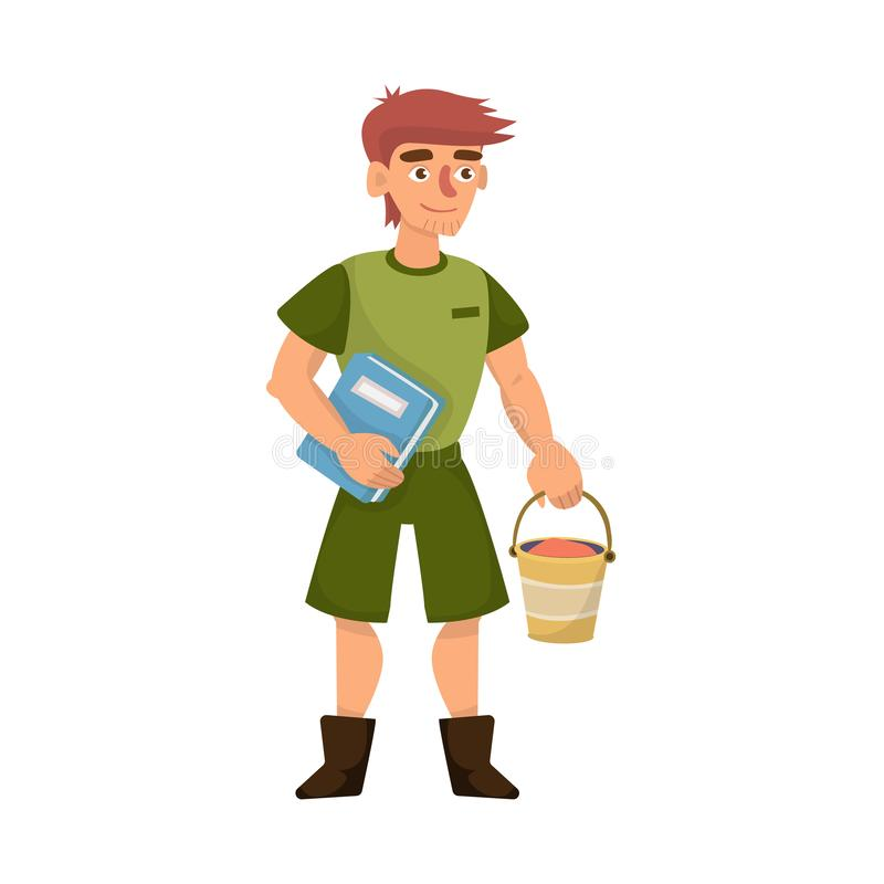 Vector illustration of zookeeper and man sign. Set of zookeeper and keeper  stock symbol for web. royalty free illustration