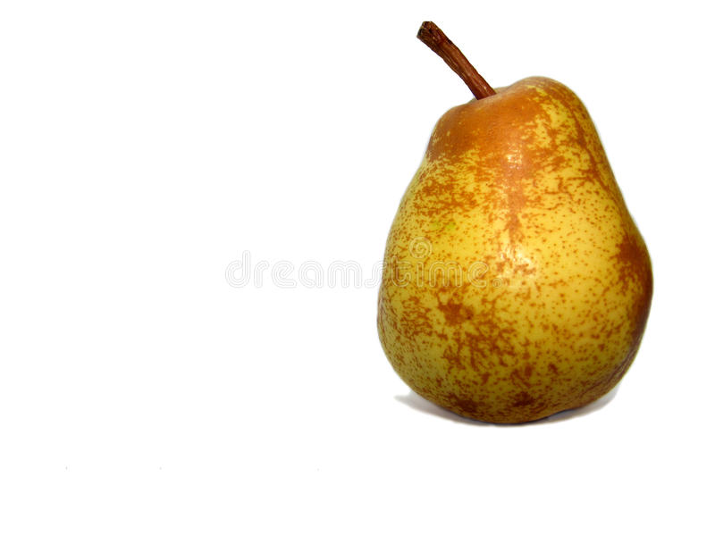 Isolated objects on white background. Yellow pear. Isolated objects on white background, yellow pear royalty free stock photo