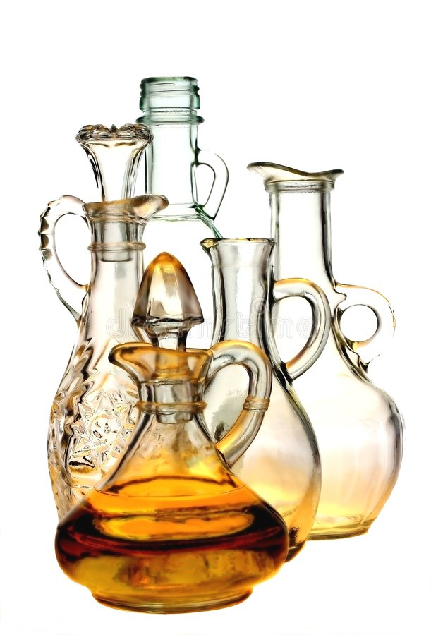 Isolated Oil and Vinegar Bottles stock photos