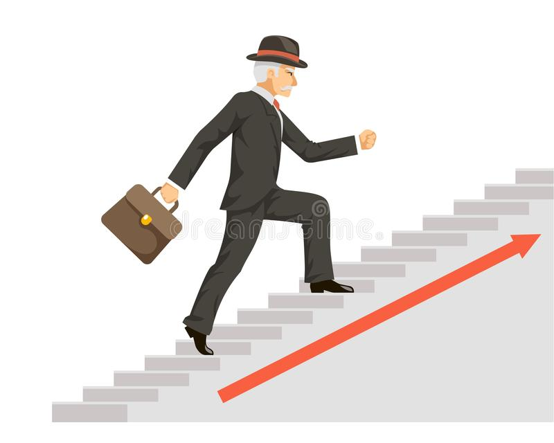 Isolated old businessman gentleman adult goes success ladder steps business arrow flat design vector illustration. Isolated old businessman gentleman goes adult stock illustration