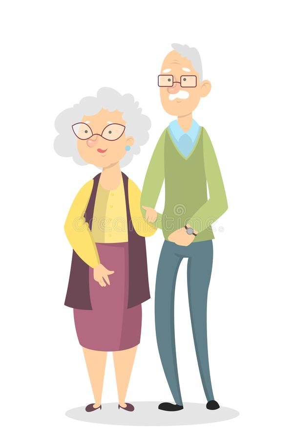 Isolated old couple. royalty free illustration