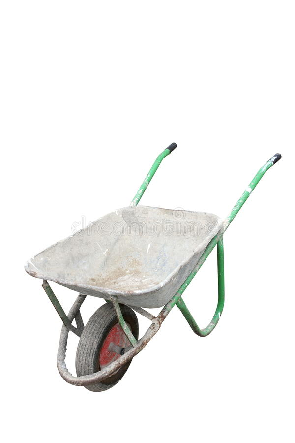 Isolated old dirty wheelbarrow royalty free stock photography