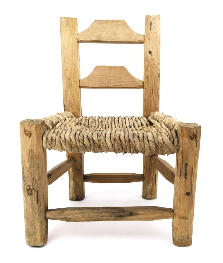 Isolated Old Woven Straw Wood Chair royalty free stock photography